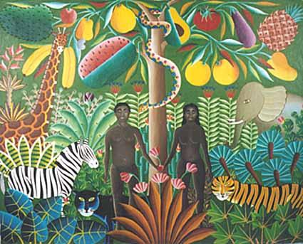 Adam & Eve by Haitian artist Gabriel Alix http://www.artshaitian.com/Pages/haitianartgalix.html