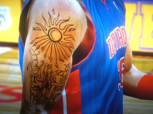 Egyptian Tattoos of former Piston Player Rasheed Wallace