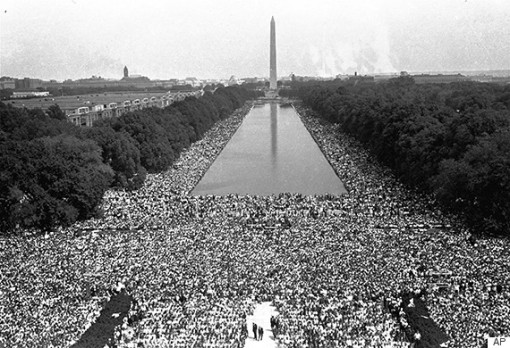 Crowds are shown in front of the Washington Monument during the March on Washington for civil rights, August 28, 1963. (AP Photo)
