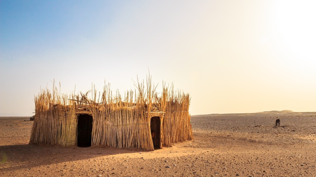 hut, desert, africa