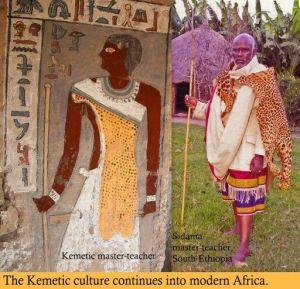 Ethiopian priest and leopard pelt
